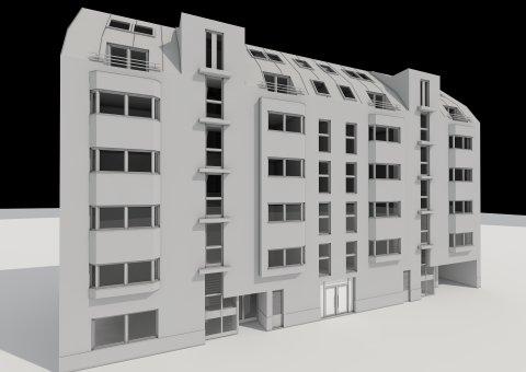 3D Visualisierungen, Architektur in 3D, Renderings für das Projekt Neubau Wohnhaus 1160 Wien; Albrechtskreithg.