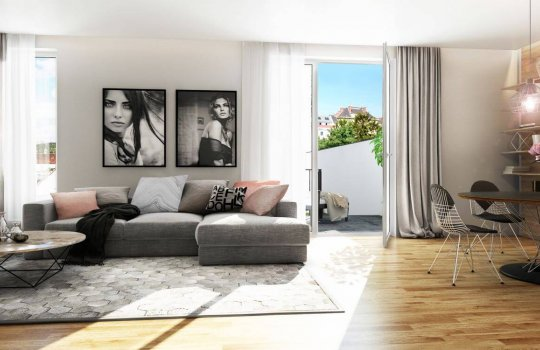 Mautner Markhof 3D Visualisierung Wohnzimmer mit Balkon
