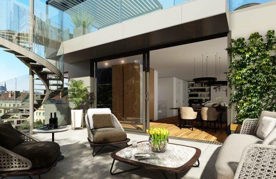 3D Aussenvisualisierung Rendering Terrasse