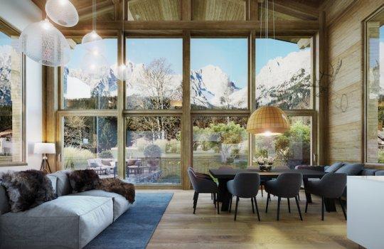 3D Rendering Interior Luxus-Chalets Kitzbühel CORDES Werbeconsulting