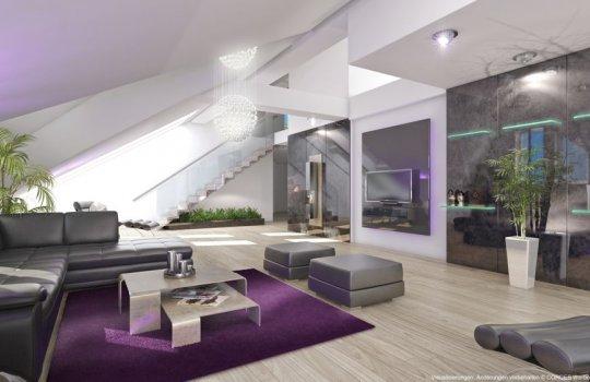 Luxus-Terrassen-Penthouse 3D Innen-Design Immobilien-Promotion