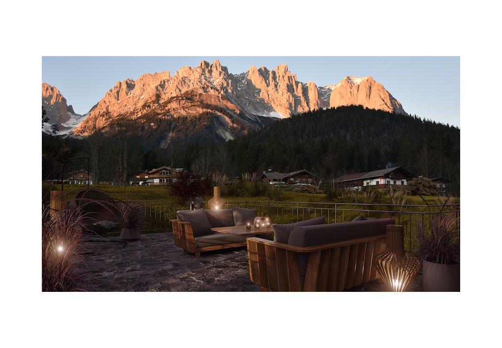 3D Außen-Visualisierung Terrasse Wilder Kaiser Kitzbühel CORDES