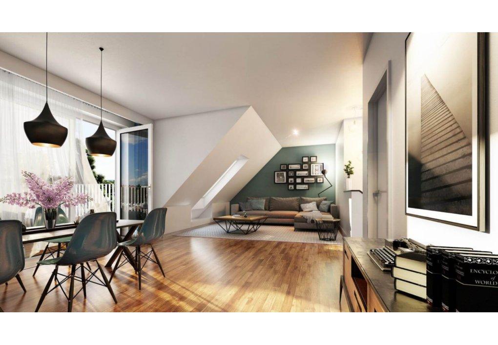 Innenvisualisierung Wohnzimmer mit Essraum MARKHOF Boulevard