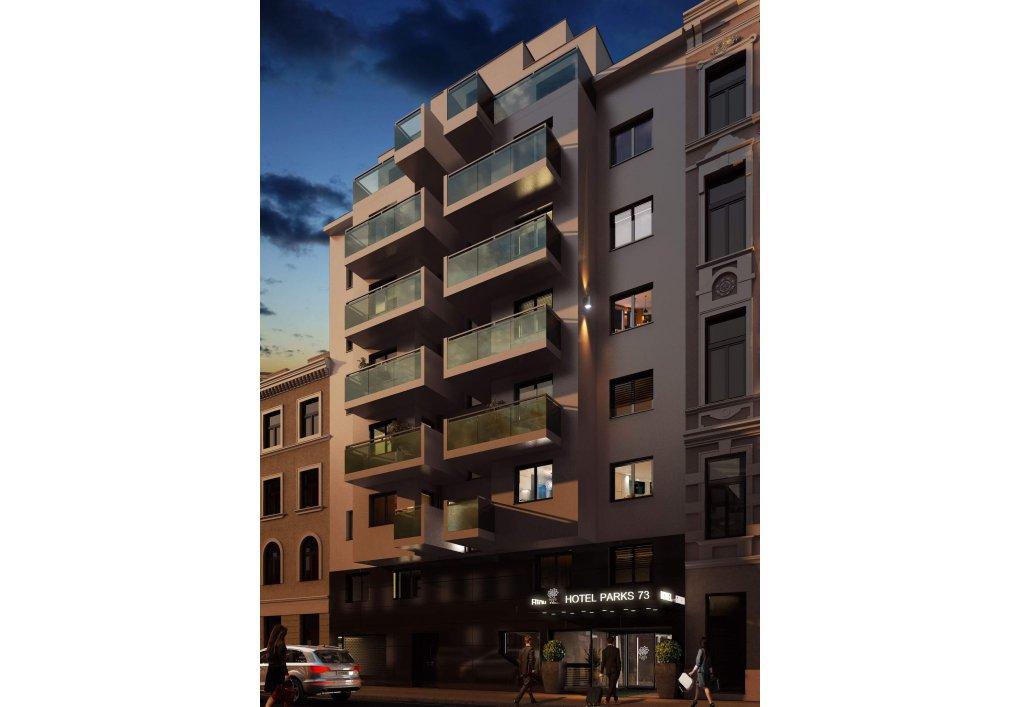 3D Visualisierung Nacht Immobilien-Projekt Parks73