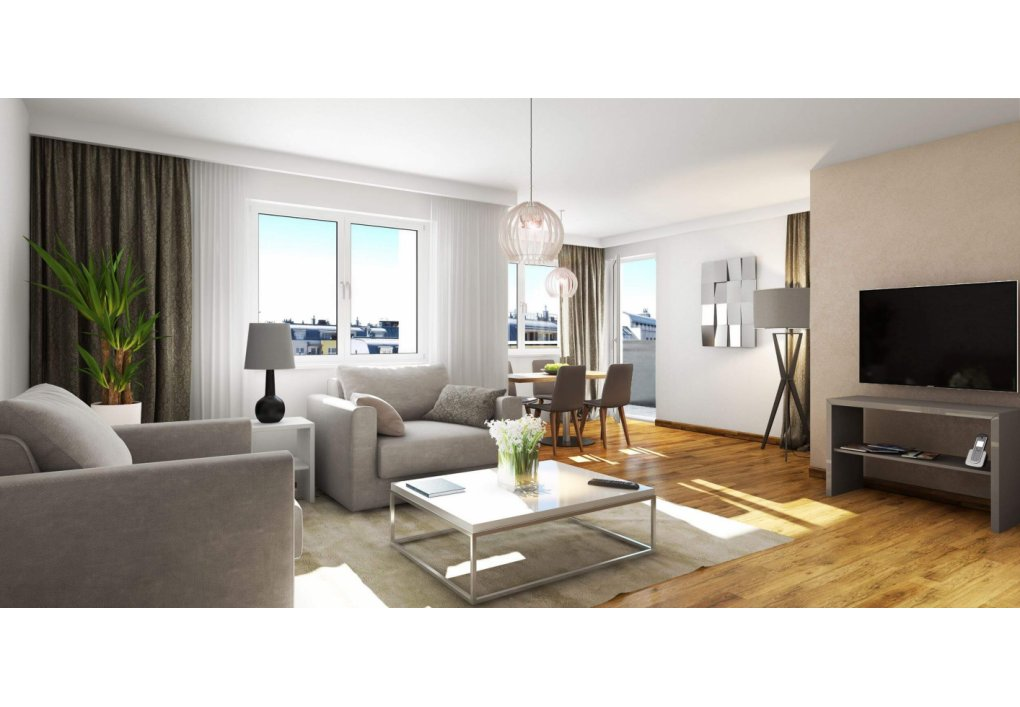 3D Visualisierung Wohnzimmer Immobilien-Projekt Parks73