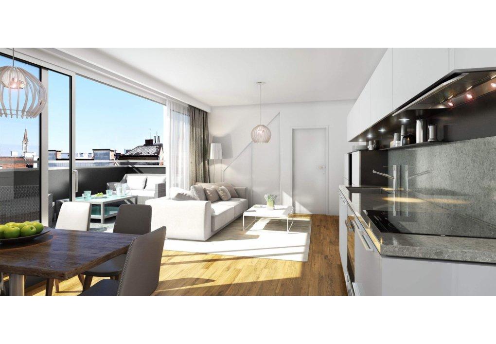 3D Innenvisualisierung Wohnzimmer/ Küche Immobilien-Projekt Parks73