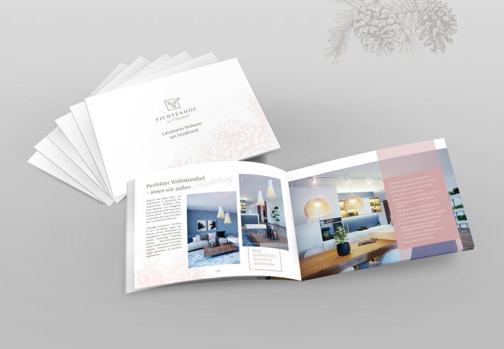 Folder, Broschüre Neubauprojekt Vösendorf Fichtenhof am Petersbach