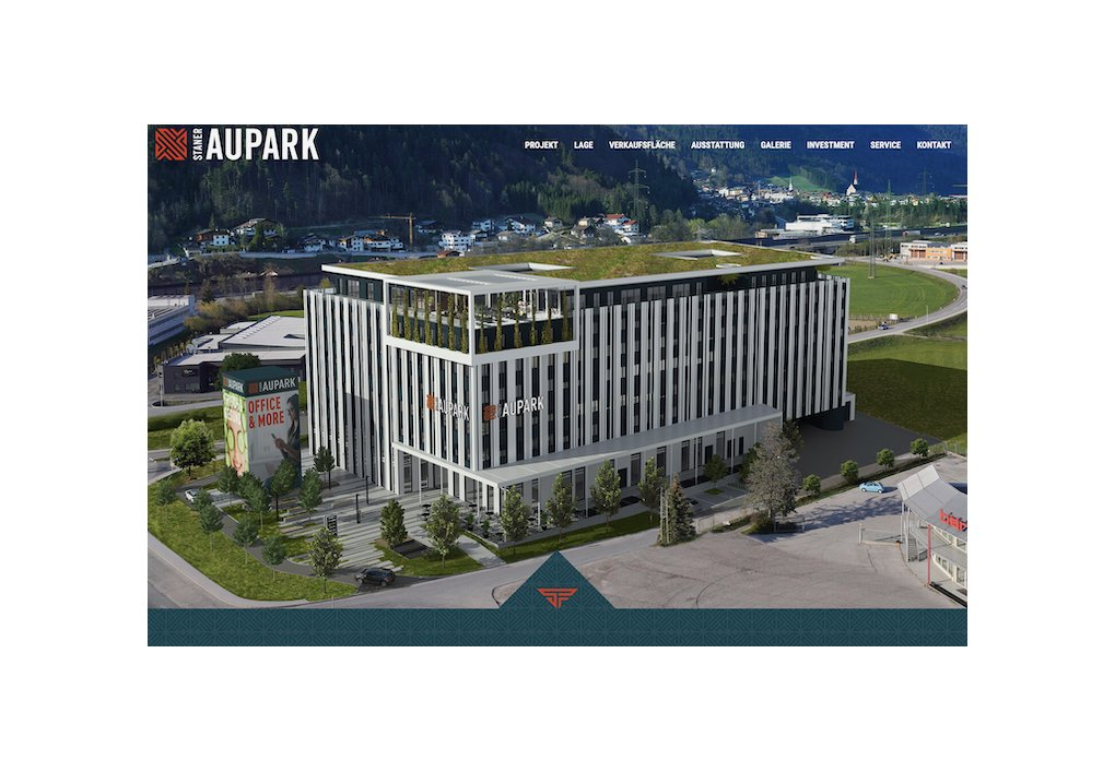 Website Staner Aupark Gewerbeprojekt