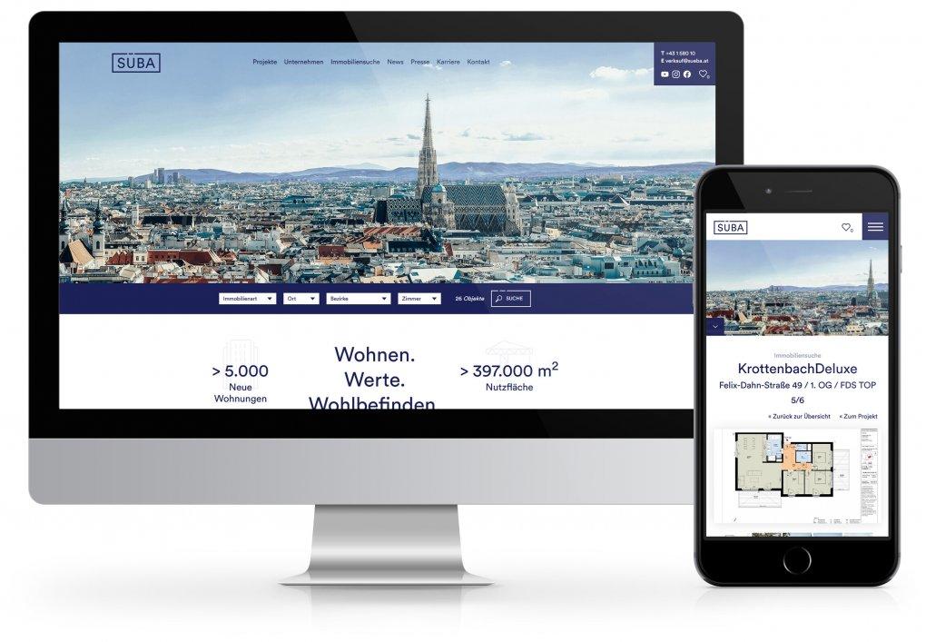 SÜBA Bauträger Website, Homepage CORDES Werbeconsulting Agentur Wien