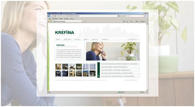 Screendesign zur neuen Krefina-Website