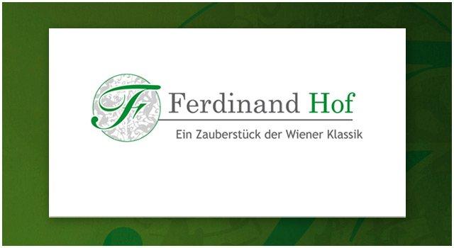 Kreation eines Textlogos und Emblems, dessen ornamentaler Stil durch die Verzierungen im Stiegenhaus des Ferdinand-Hofs