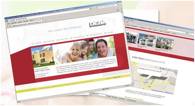 DEBA WebsiteDesign und Umsetzung der DEBA Bauträger Website.