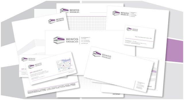 Gestaltung des Briefpapiers und der Visitenkarten