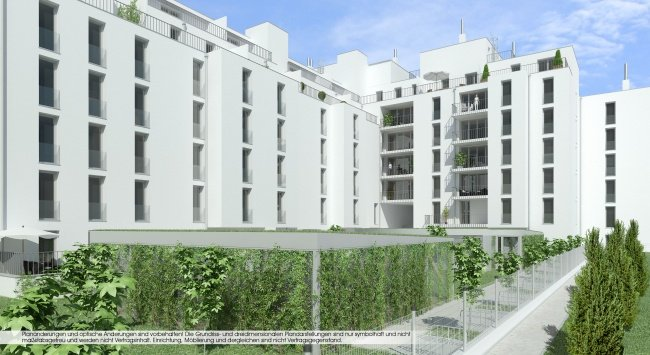 3D Visualisierungen, Renderings, 3D Hofansicht, Immobilien-Projekt Bunsengasse 4; 1210 Wien - 2012