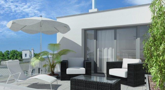 3D Terrasse 3D Visualisierungen, Renderings, Immobilien-Projekt Bunsengasse 4; 1210 Wien - 2012