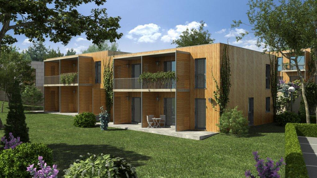 Projekt in Oberwölblink das Cohousing Pomali Gartenperspektive 3D