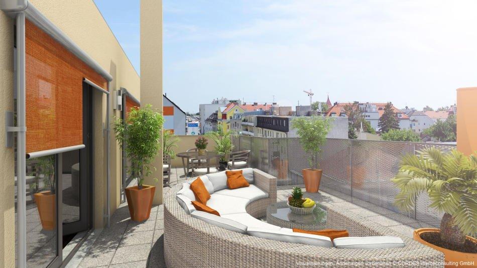 3D Terrasse, Renderings, Architektur in 3D in der Donaufelder Strasse 241