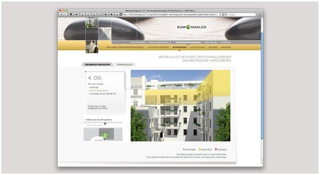 Im Grundrissnavigator können Sie visuell die verfügbaren Wohnungen erkunden