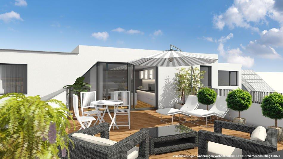 3D Terrassen-Ansicht, Visualisierungen, Architektur in 3D, Renderings für das Projekt Schopenhauerstrasse