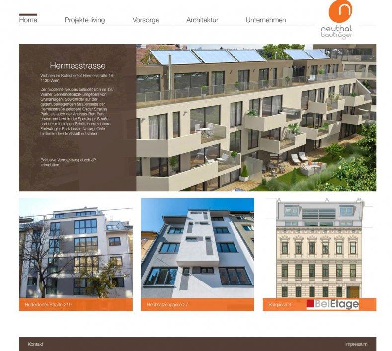 Website für den Bauträger Neuthal Beteiligungs-Ges.m.b.H