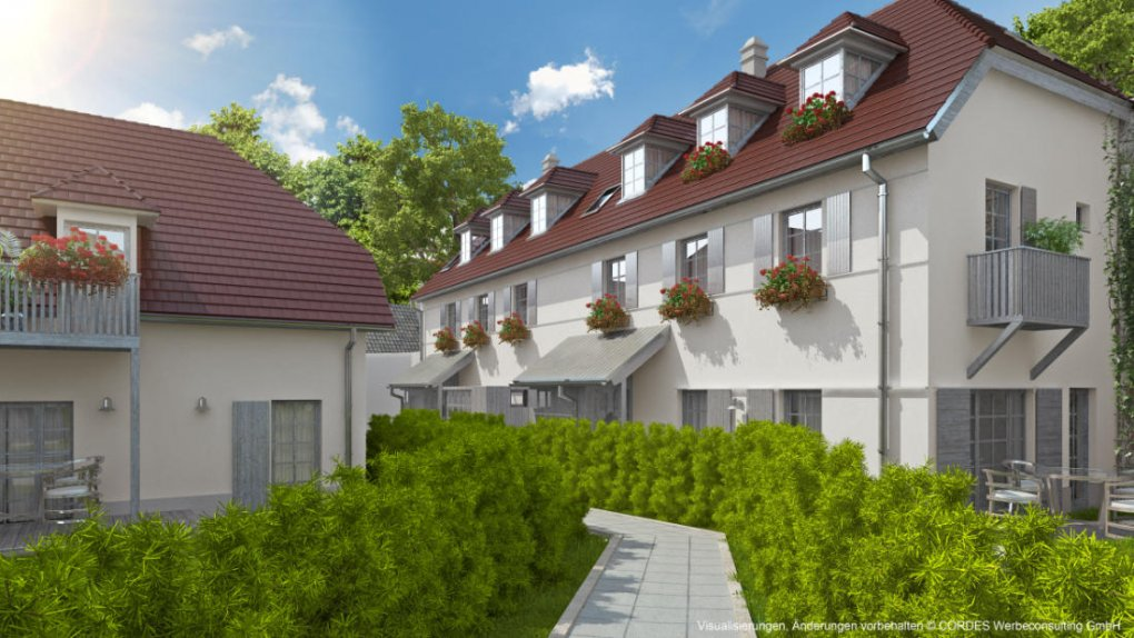 3D Visualisierung Hofansicht Immobilienprojekt Vineyards-Homes