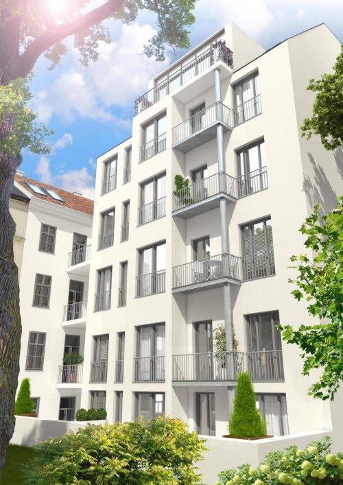3D Visualisierungen Hofansicht denkmalgeschützte Liegenschaft in Bestlage 1070 Wien am Spittelberg