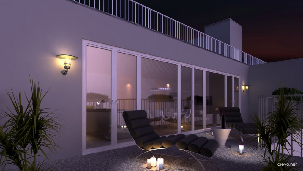 3D Visualisierung Nachtansicht Terrasse