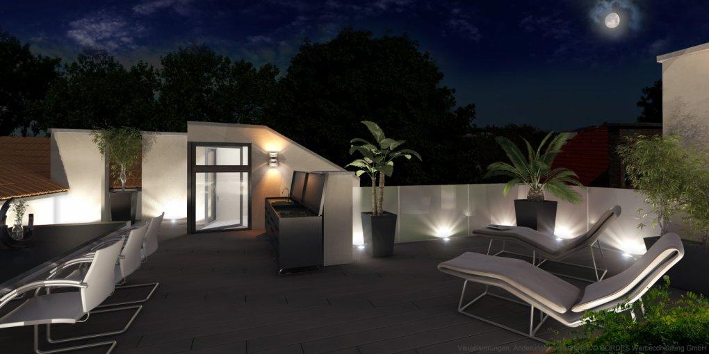 3D Terrasse Abendperspektive